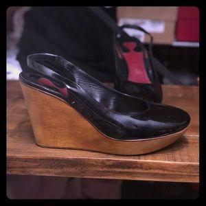 Cracked Chloe black patent wedge heels